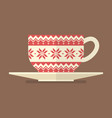 christmas cup with pattern vector image vector image