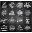 christmas emblems set chalkboard vector image vector image