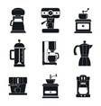 coffee maker pot espresso icons set simple style vector image vector image