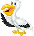 Cute cartoon pelican waving isolated vector image vector image