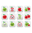 Cute red apple and green apple kawaii buttons set vector image vector image