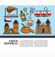 czech republic symbols on promotional poster for vector image vector image