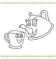 Funny teapot and cup - coloring book vector image vector image
