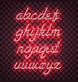 glowing red neon lowercase script font vector image