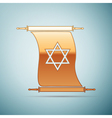 Gold Star of David on scroll icon for blue vector image vector image