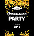 graduation party invitation card with golden vector image vector image