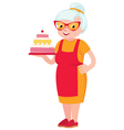 Grandmother baked a cake vector image vector image