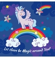 hand drawn unicorn standing on a rainbow vector image vector image