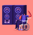 handicapped man sitting in wheelchair singing at vector image vector image