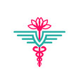 health symbol logo design and lotus flower vector image vector image