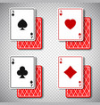 holdem classic poker casino cards 4 suits in vector image