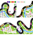infographics set of winding roads with signs vector image vector image