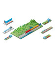 isometric railway transport concept vector image vector image