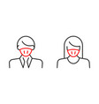 man in face mask line icon pictograph disease vector image
