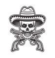 mexican bandit skull in sombrero hat vector image