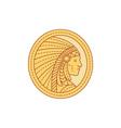 Native American Indian Chief Warrior Mono Line vector image