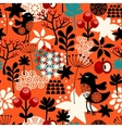 Orange seamless pattern with cute singing birds vector image vector image