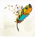 pen multicolored feather with flying birds vector image vector image