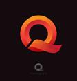 q monogram orange q monogram ribbon vector image