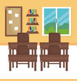 school classroom with schooldesks scene vector image