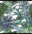 seamless pattern with green foliage branches vector image