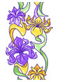 seamless pattern with iris flowers art nouveau vector image vector image
