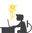 Silhouette of a man making money online vector image