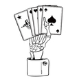 skeleton hand with cards vector image