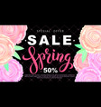 spring sale banner with rose flowers on black vector image vector image