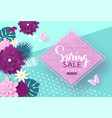 spring sale bannerbackground with blossom flowers vector image