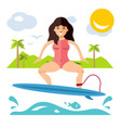 Surfing flat style colorful cartoon
