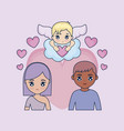 valentine day card with couple and cupid vector image