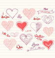 valentine day love hearts doodle set vector image vector image