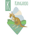 vertical of kangaroo with colorful meadow vector image vector image