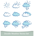 weather doodle set isolated on white background vector image vector image