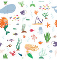 mermaids and sea animals cartoon seamless pattern vector image