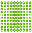100 festive day icons hexagon green vector image vector image