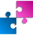 2 Puzzles Pink Blue Pieces JigSaw vector image vector image