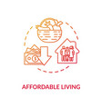 affordable living red concept icon