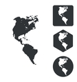 American continents icon set monochrome