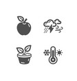 bad weather apple and leaves icons thermometer vector image vector image