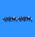 big people crowd on blue background vector image vector image