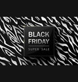 black friday sale poster zebra pattern design vector image