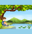 boy reading book by the pond vector image vector image