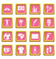 brazil travel symbols icons pink vector image vector image