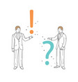 businessman shows a question mark and exclamation vector image