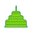 cake with candle sign lemon scribble icon vector image vector image