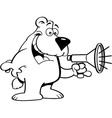 Cartoon bear talking into a megaphone vector image vector image
