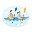 couple in a canoe rowing vector image vector image