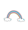 cute color rainbow with clouds vector image vector image